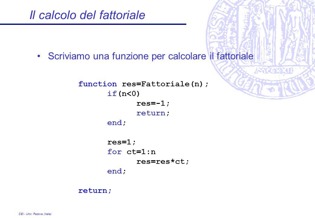DEI - Univ. Padova (Italia) Il calcolo del fattoriale Scriviamo una funzione per calcolare il fattoriale function res=Fattoriale(n); if(n<0) res=-1; r