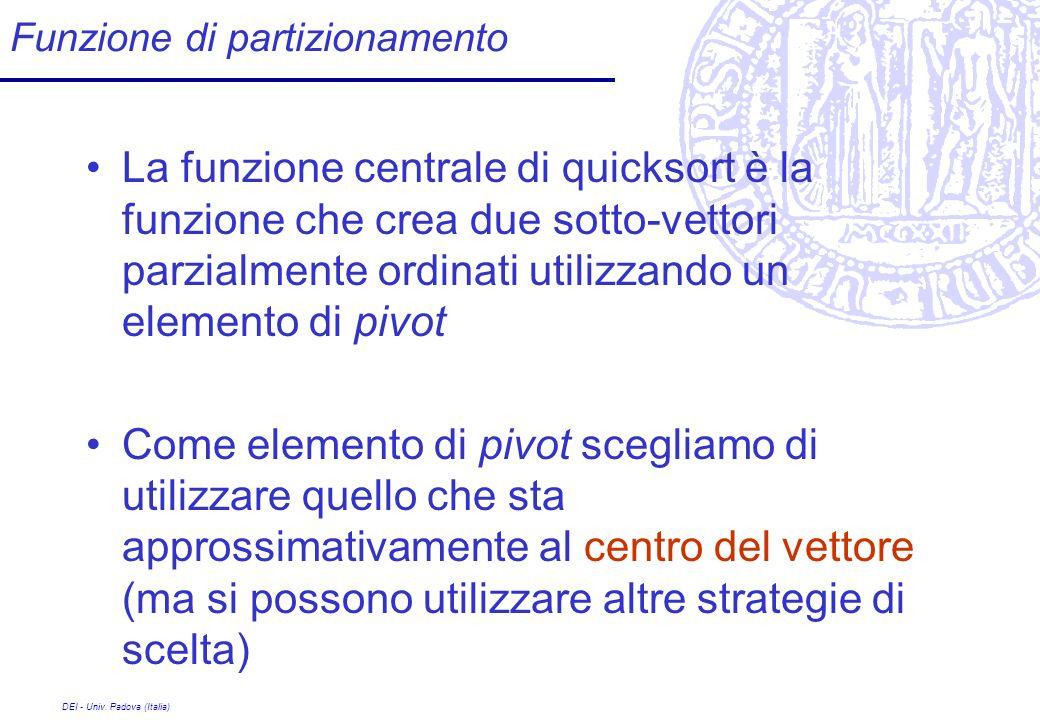 DEI - Univ. Padova (Italia) Funzione di partizionamento La funzione centrale di quicksort è la funzione che crea due sotto-vettori parzialmente ordina