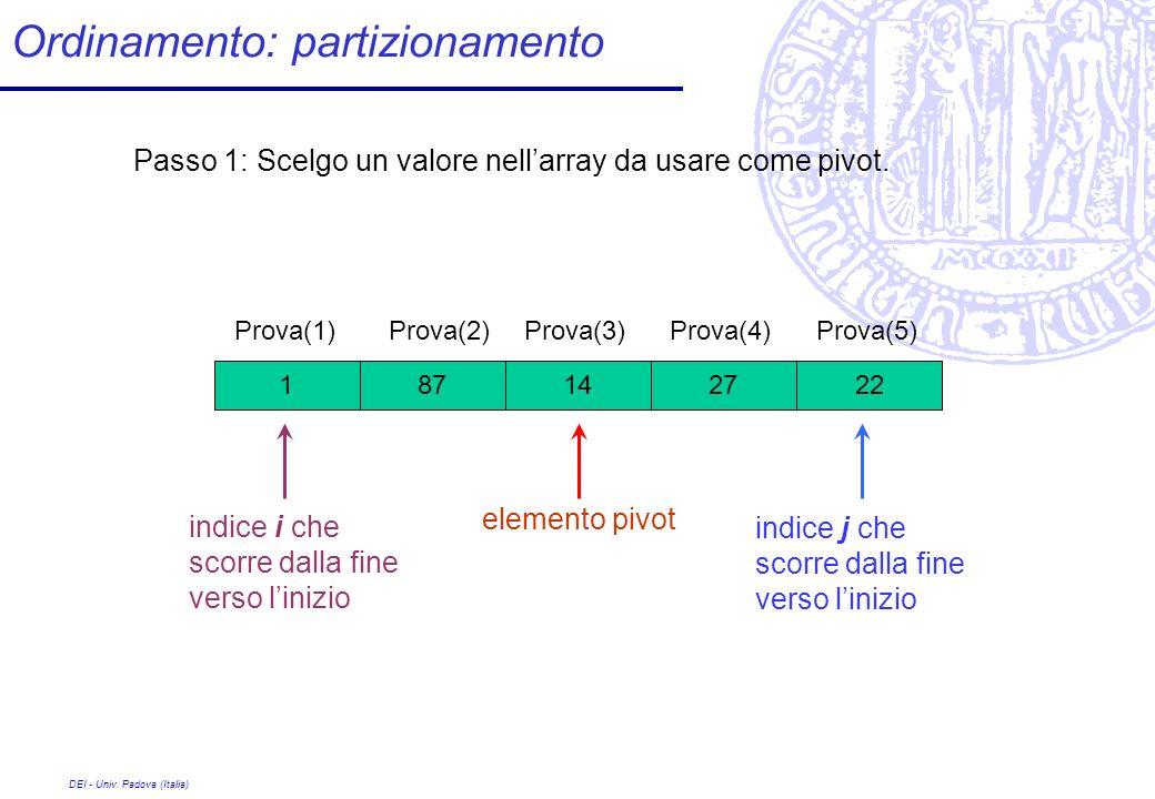 DEI - Univ. Padova (Italia) Ordinamento: partizionamento 27 Prova(1) 1422871 Prova(2)Prova(3)Prova(4)Prova(5) Passo 1: Scelgo un valore nellarray da u