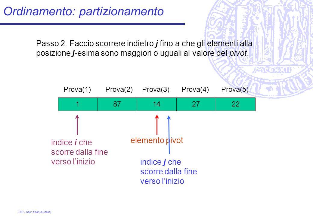 DEI - Univ. Padova (Italia) Ordinamento: partizionamento 27 Prova(1) 1422871 Prova(2)Prova(3)Prova(4)Prova(5) Passo 2: Faccio scorrere indietro j fino