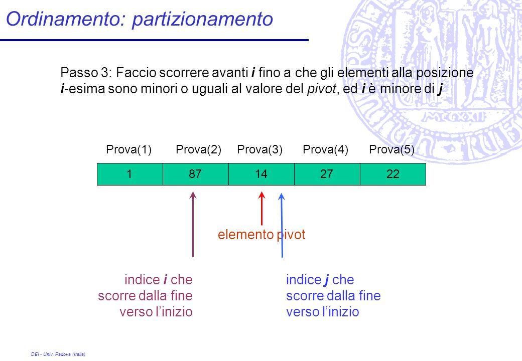DEI - Univ. Padova (Italia) Ordinamento: partizionamento 27 Prova(1) 1422871 Prova(2)Prova(3)Prova(4)Prova(5) Passo 3: Faccio scorrere avanti i fino a