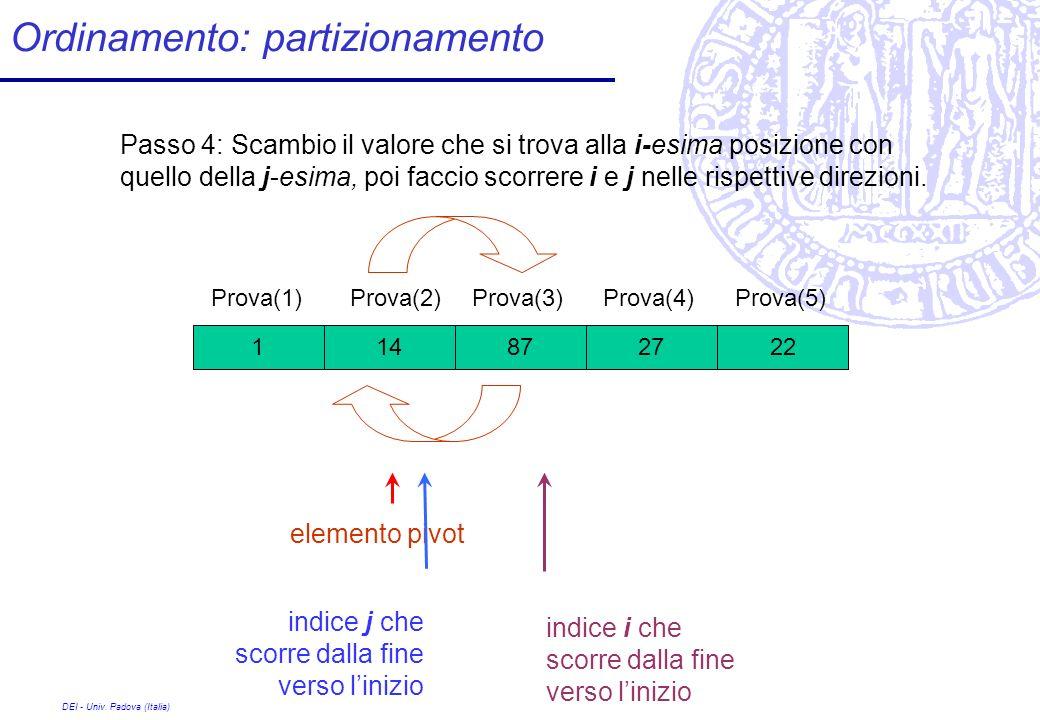 DEI - Univ. Padova (Italia) Ordinamento: partizionamento 27 Prova(1) 8722141 Prova(2)Prova(3)Prova(4)Prova(5) Passo 4: Scambio il valore che si trova