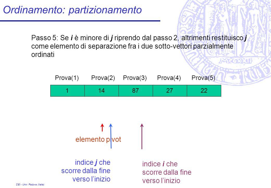 DEI - Univ. Padova (Italia) Ordinamento: partizionamento 27 Prova(1) 8722141 Prova(2)Prova(3)Prova(4)Prova(5) Passo 5: Se i è minore di j riprendo dal