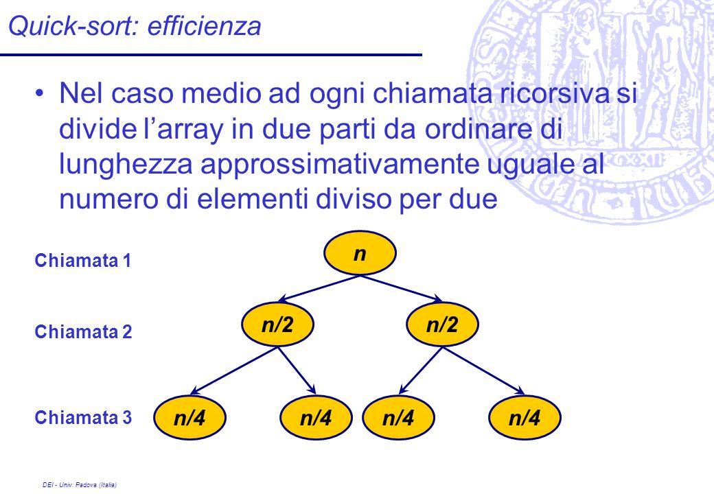 DEI - Univ. Padova (Italia) Quick-sort: efficienza Nel caso medio ad ogni chiamata ricorsiva si divide larray in due parti da ordinare di lunghezza ap