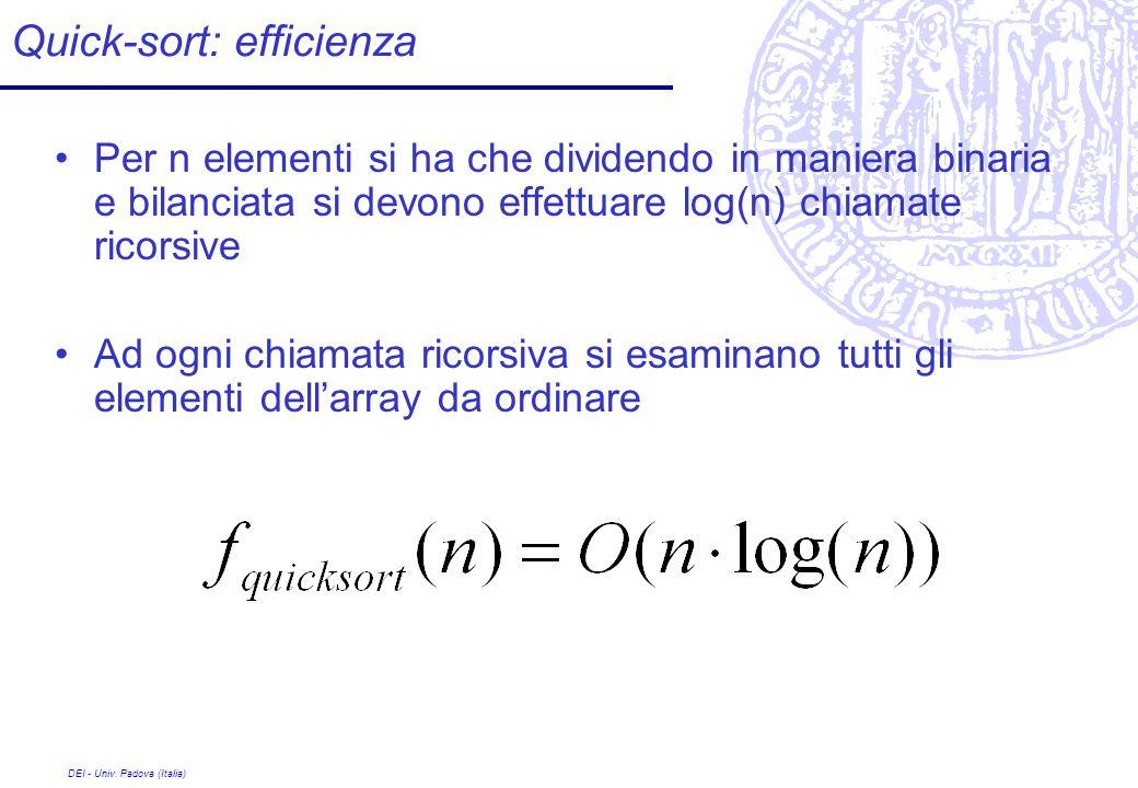 DEI - Univ. Padova (Italia) Quick-sort: efficienza Per n elementi si ha che dividendo in maniera binaria e bilanciata si devono effettuare log(n) chia