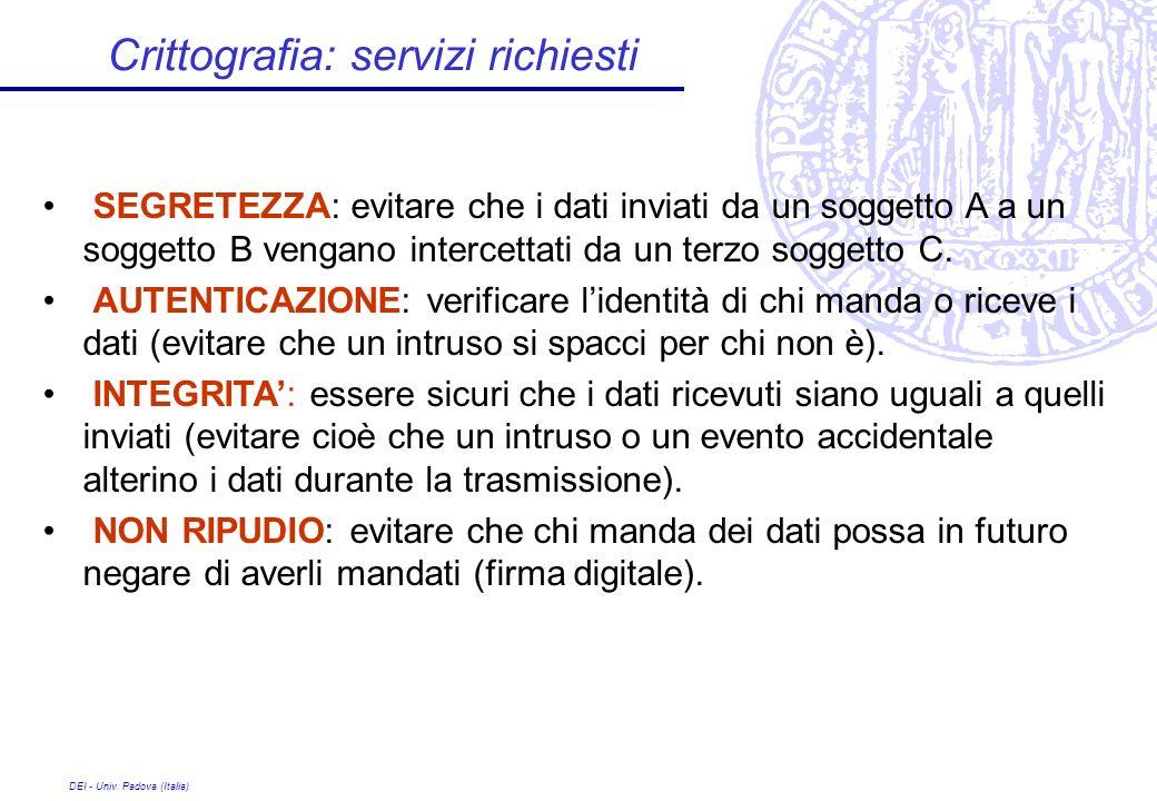 DEI - Univ. Padova (Italia) Crittografia: servizi richiesti SEGRETEZZA: evitare che i dati inviati da un soggetto A a un soggetto B vengano intercetta