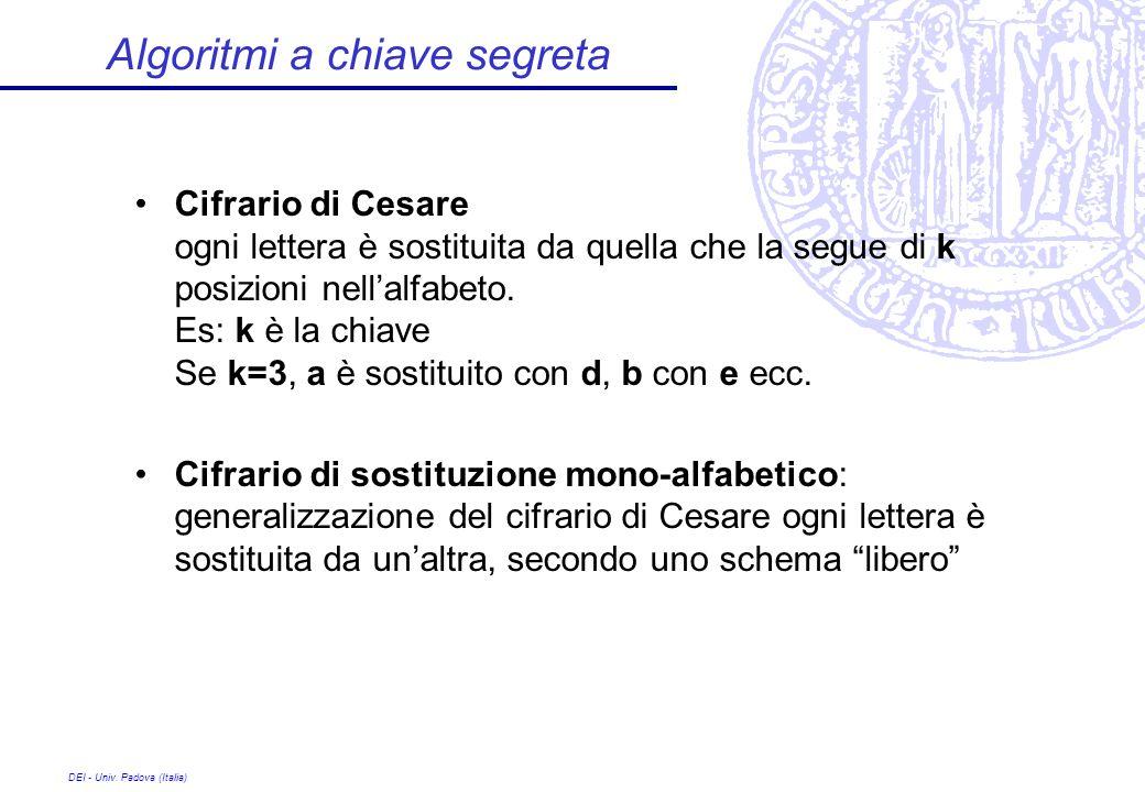 DEI - Univ. Padova (Italia) Algoritmi a chiave segreta Cifrario di Cesare ogni lettera è sostituita da quella che la segue di k posizioni nellalfabeto