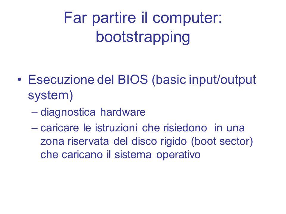 Far partire il computer: bootstrapping Esecuzione del BIOS (basic input/output system) –diagnostica hardware –caricare le istruzioni che risiedono in una zona riservata del disco rigido (boot sector) che caricano il sistema operativo