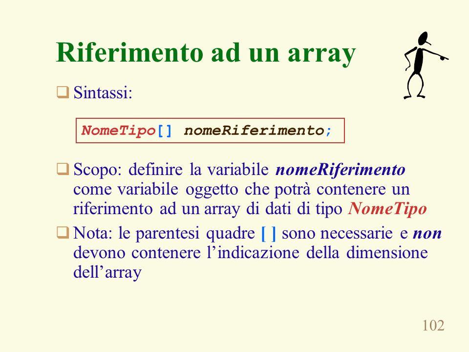 102 Riferimento ad un array Sintassi: Scopo: definire la variabile nomeRiferimento come variabile oggetto che potrà contenere un riferimento ad un array di dati di tipo NomeTipo Nota: le parentesi quadre [ ] sono necessarie e non devono contenere lindicazione della dimensione dellarray NomeTipo[] nomeRiferimento;