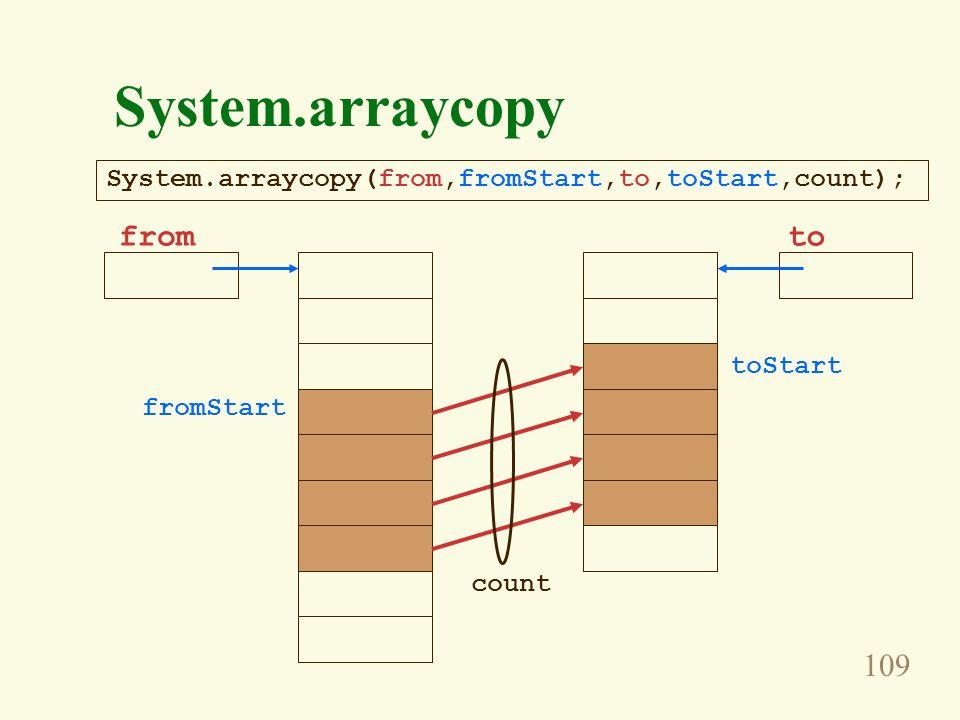 109 System.arraycopy fromto fromStart toStart count System.arraycopy(from,fromStart,to,toStart,count);
