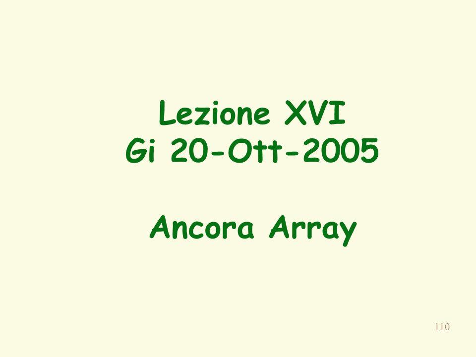 110 Lezione XVI Gi 20-Ott-2005 Ancora Array