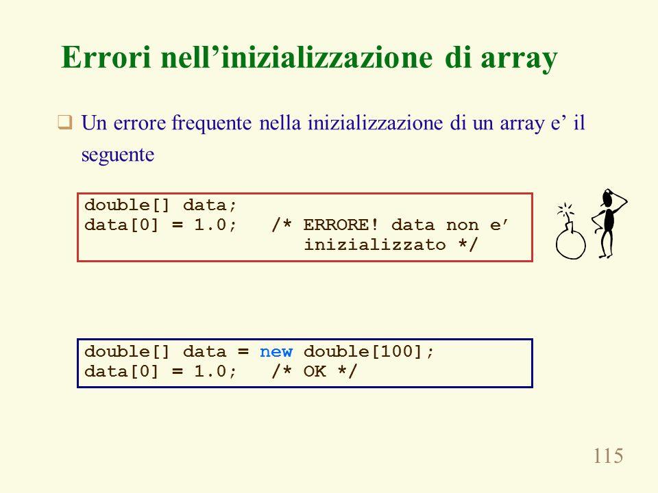 115 Errori nellinizializzazione di array Un errore frequente nella inizializzazione di un array e il seguente double[] data; data[0] = 1.0; /* ERRORE!