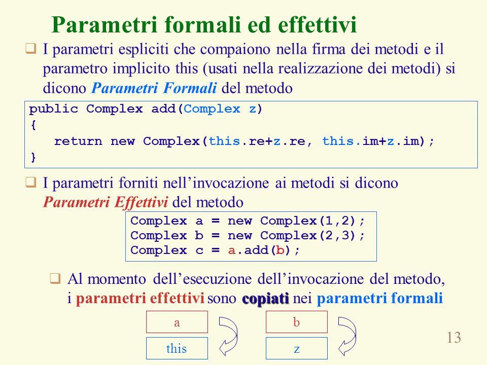 13 Parametri formali ed effettivi I parametri espliciti che compaiono nella firma dei metodi e il parametro implicito this (usati nella realizzazione dei metodi) si dicono Parametri Formali del metodo I parametri forniti nellinvocazione ai metodi si dicono Parametri Effettivi del metodo public Complex add(Complex z) { return new Complex(this.re+z.re, this.im+z.im); } Complex a = new Complex(1,2); Complex b = new Complex(2,3); Complex c = a.add(b); copiati Al momento dellesecuzione dellinvocazione del metodo, i parametri effettivi sono copiati nei parametri formali ab thisz