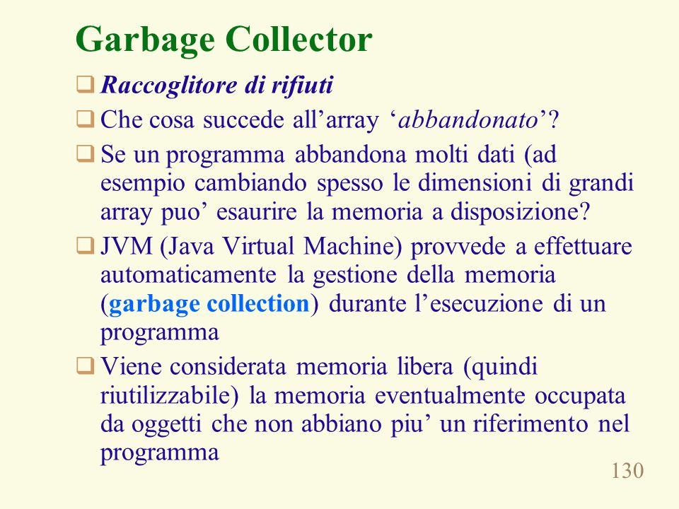 130 Garbage Collector Raccoglitore di rifiuti Che cosa succede allarray abbandonato? Se un programma abbandona molti dati (ad esempio cambiando spesso