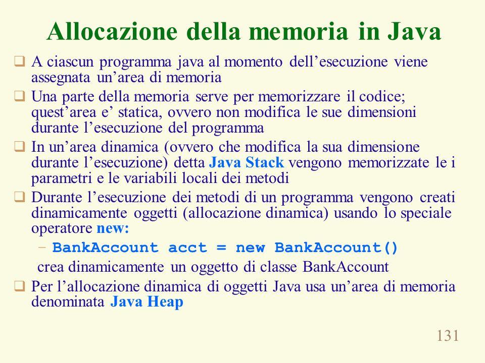 131 A ciascun programma java al momento dellesecuzione viene assegnata unarea di memoria Una parte della memoria serve per memorizzare il codice; ques