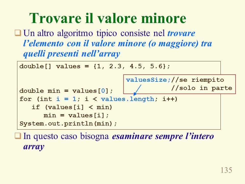 135 Trovare il valore minore Un altro algoritmo tipico consiste nel trovare lelemento con il valore minore (o maggiore) tra quelli presenti nellarray In questo caso bisogna esaminare sempre lintero array double[] values = {1, 2.3, 4.5, 5.6}; double min = values[0]; for (int i = 1; i < values.length; i++) if (values[i] < min) min = values[i]; System.out.println(min); valuesSize;//se riempito //solo in parte