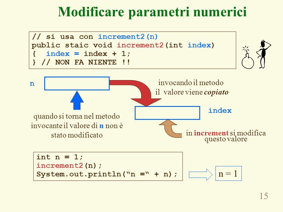 15 Modificare parametri numerici n index invocando il metodo il valore viene copiato quando si torna nel metodo invocante il valore di n non è stato modificato // si usa con increment2(n) public staic void increment2(int index) { index = index + 1; } // NON FA NIENTE !.