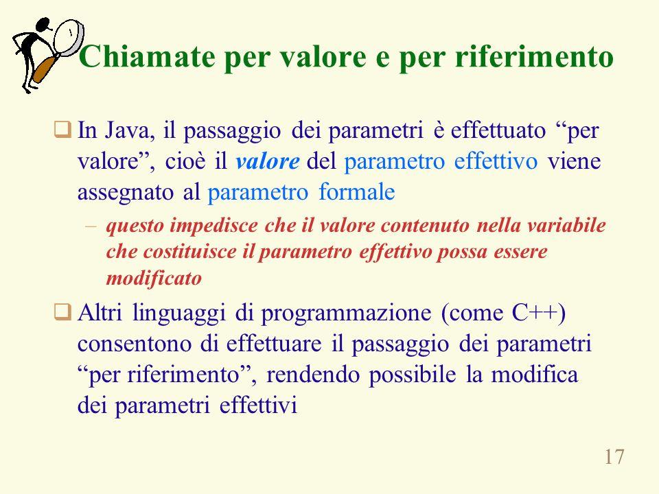 17 Chiamate per valore e per riferimento In Java, il passaggio dei parametri è effettuato per valore, cioè il valore del parametro effettivo viene assegnato al parametro formale –questo impedisce che il valore contenuto nella variabile che costituisce il parametro effettivo possa essere modificato Altri linguaggi di programmazione (come C++) consentono di effettuare il passaggio dei parametri per riferimento, rendendo possibile la modifica dei parametri effettivi