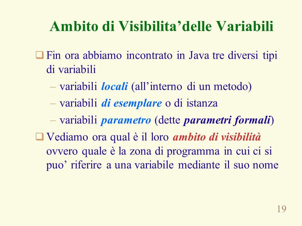 19 Ambito di Visibilitadelle Variabili Fin ora abbiamo incontrato in Java tre diversi tipi di variabili –variabili locali (allinterno di un metodo) –variabili di esemplare o di istanza –variabili parametro (dette parametri formali) Vediamo ora qual è il loro ambito di visibilità ovvero quale è la zona di programma in cui ci si puo riferire a una variabile mediante il suo nome