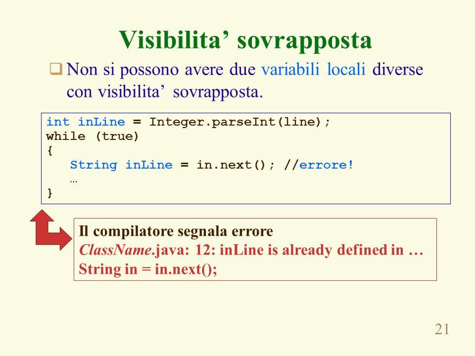 21 Visibilita sovrapposta Non si possono avere due variabili locali diverse con visibilita sovrapposta. int inLine = Integer.parseInt(line); while (tr