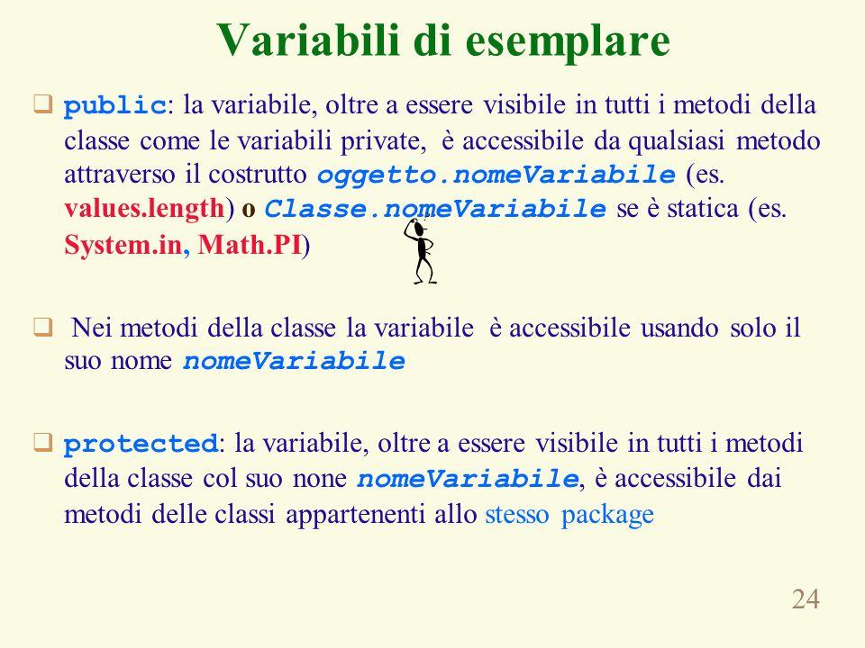 24 Variabili di esemplare public : la variabile, oltre a essere visibile in tutti i metodi della classe come le variabili private, è accessibile da qualsiasi metodo attraverso il costrutto oggetto.nomeVariabile (es.