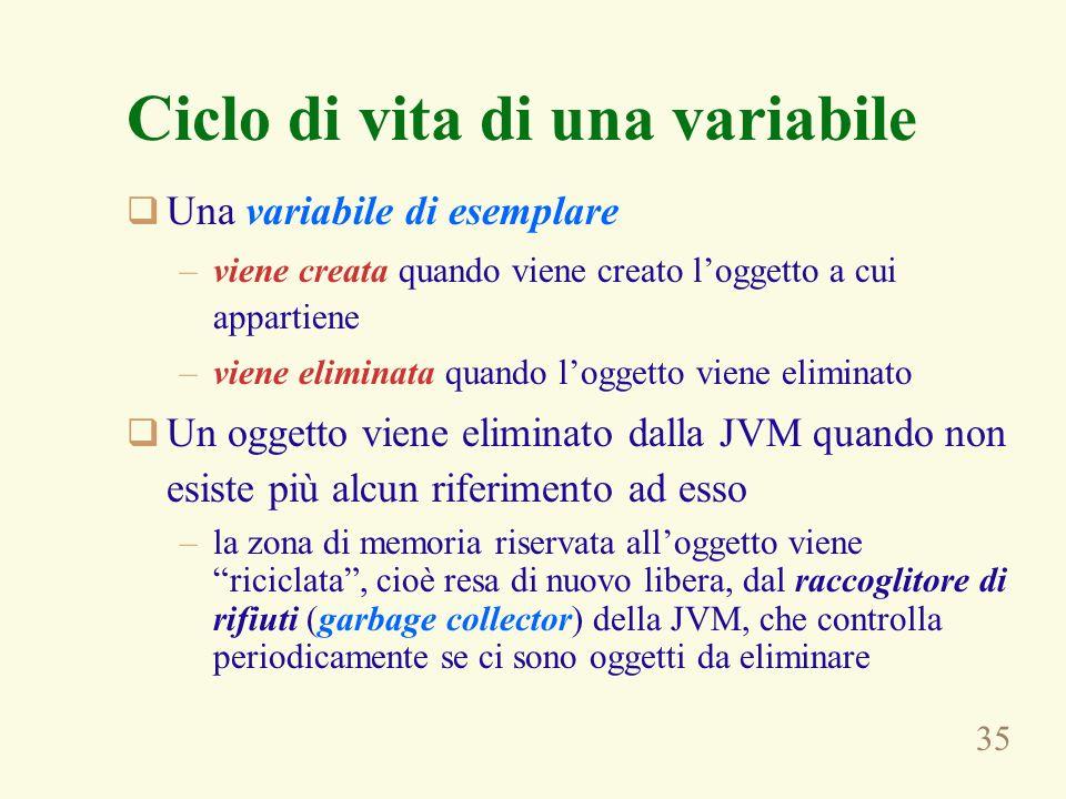 35 Ciclo di vita di una variabile Una variabile di esemplare –viene creata quando viene creato loggetto a cui appartiene –viene eliminata quando logge