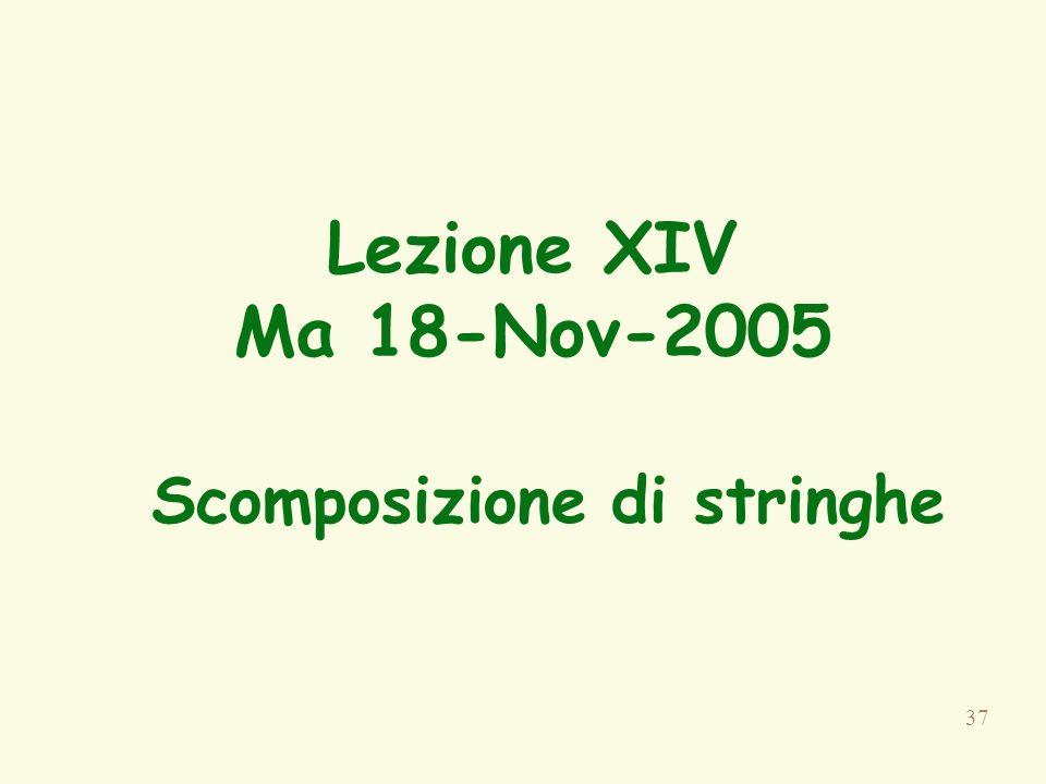 37 Lezione XIV Ma 18-Nov-2005 Scomposizione di stringhe