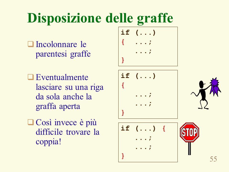 55 Disposizione delle graffe Incolonnare le parentesi graffe Eventualmente lasciare su una riga da sola anche la graffa aperta Così invece è più difficile trovare la coppia.