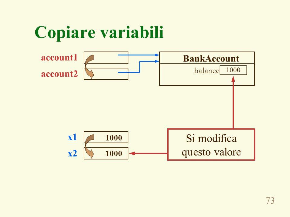 73 Copiare variabili 1000 balance account1 account2 BankAccount x1 x2 1000 Si modifica questo valore