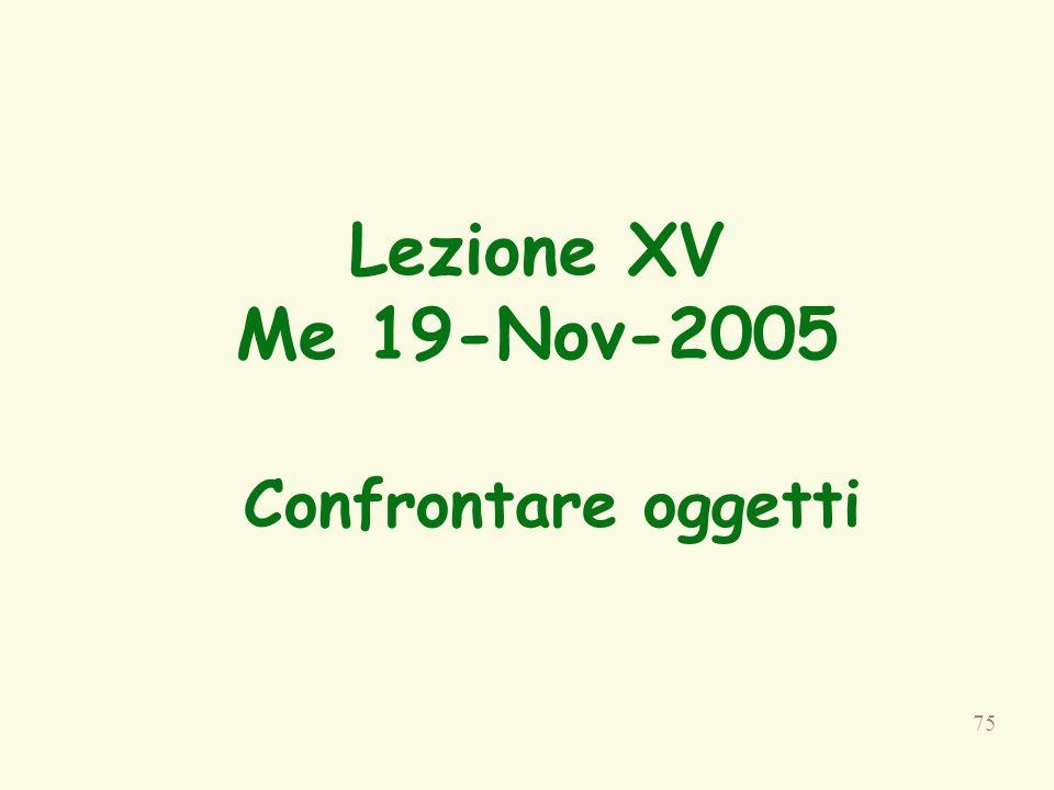 75 Lezione XV Me 19-Nov-2005 Confrontare oggetti