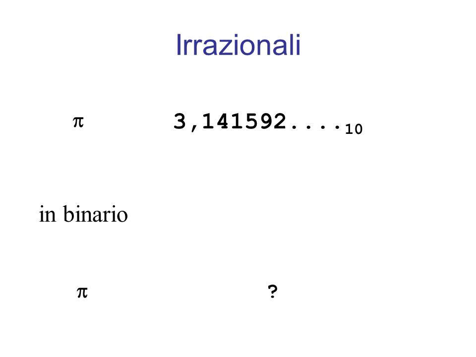 3,141592.... 10 in binario ? Irrazionali