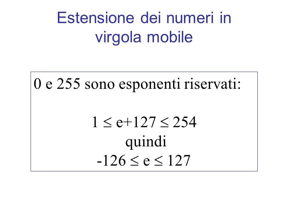 Estensione dei numeri in virgola mobile 0 e 255 sono esponenti riservati: 1 e+127 254 quindi -126 e 127
