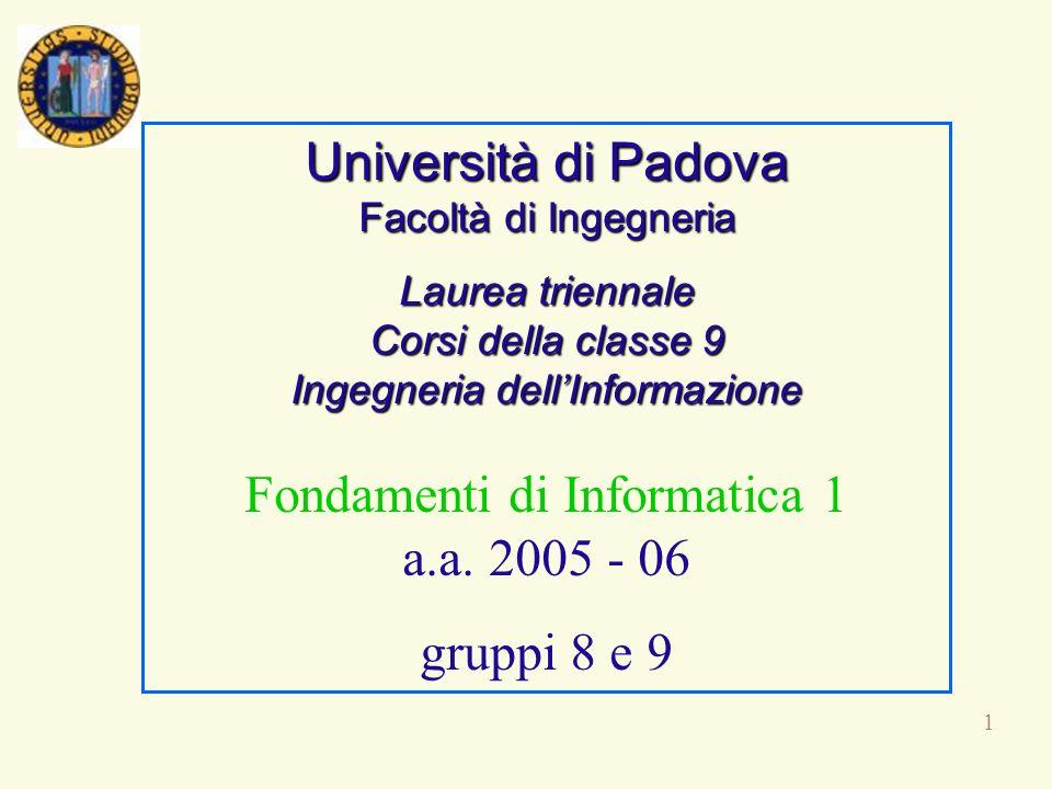 1 Università di Padova Facoltà di Ingegneria Laurea triennale Corsi della classe 9 Ingegneria dellInformazione Fondamenti di Informatica 1 a.a. 2005 -
