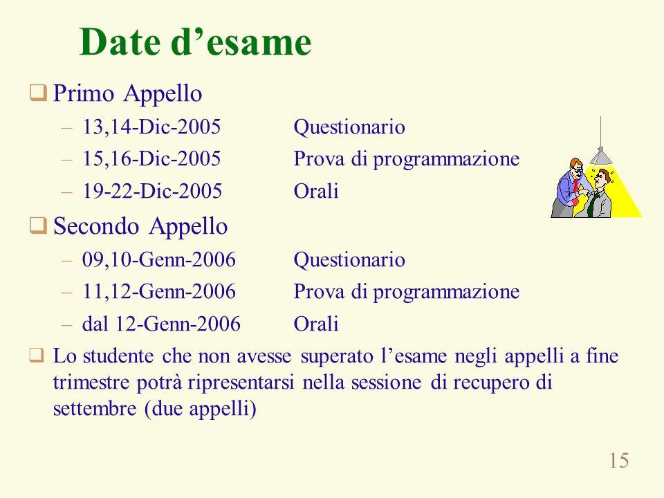 15 Date desame Primo Appello –13,14-Dic-2005Questionario –15,16-Dic-2005Prova di programmazione –19-22-Dic-2005Orali Secondo Appello –09,10-Genn-2006Q