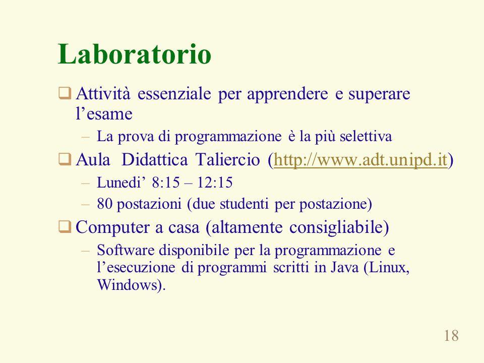 18 Laboratorio Attività essenziale per apprendere e superare lesame –La prova di programmazione è la più selettiva Aula Didattica Taliercio (http://ww