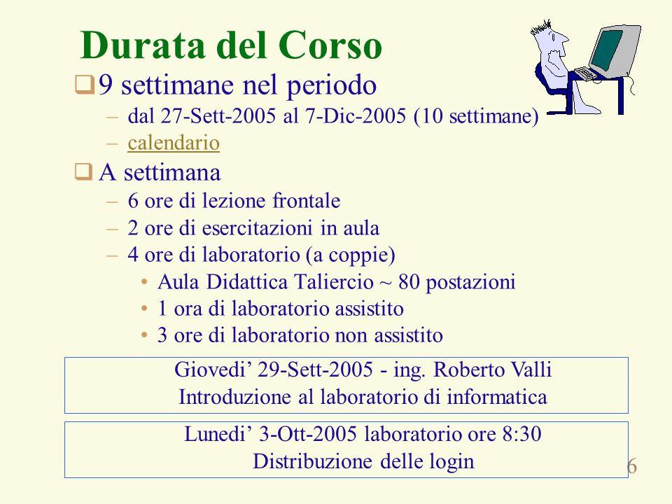 6 Durata del Corso 9 settimane nel periodo –dal 27-Sett-2005 al 7-Dic-2005 (10 settimane) –calendariocalendario A settimana –6 ore di lezione frontale