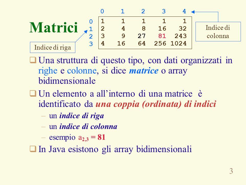 3 Una struttura di questo tipo, con dati organizzati in righe e colonne, si dice matrice o array bidimensionale Un elemento a allinterno di una matric