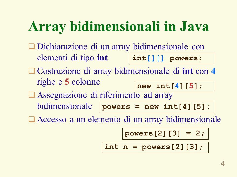 4 Dichiarazione di un array bidimensionale con elementi di tipo int Costruzione di array bidimensionale di int con 4 righe e 5 colonne Assegnazione di