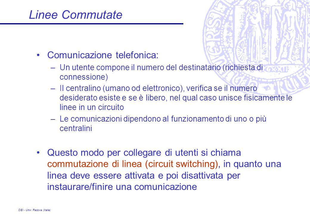 DEI - Univ. Padova (Italia) Linee Commutate Comunicazione telefonica: –Un utente compone il numero del destinatario (richiesta di connessione) –Il cen