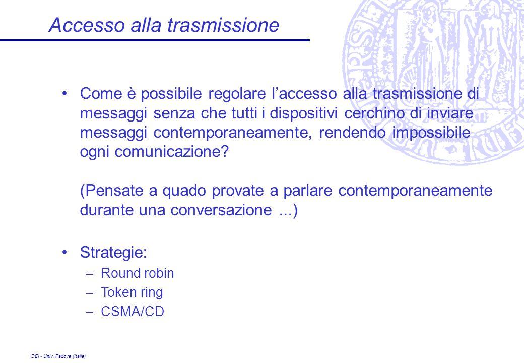 DEI - Univ. Padova (Italia) Accesso alla trasmissione Come è possibile regolare laccesso alla trasmissione di messaggi senza che tutti i dispositivi c