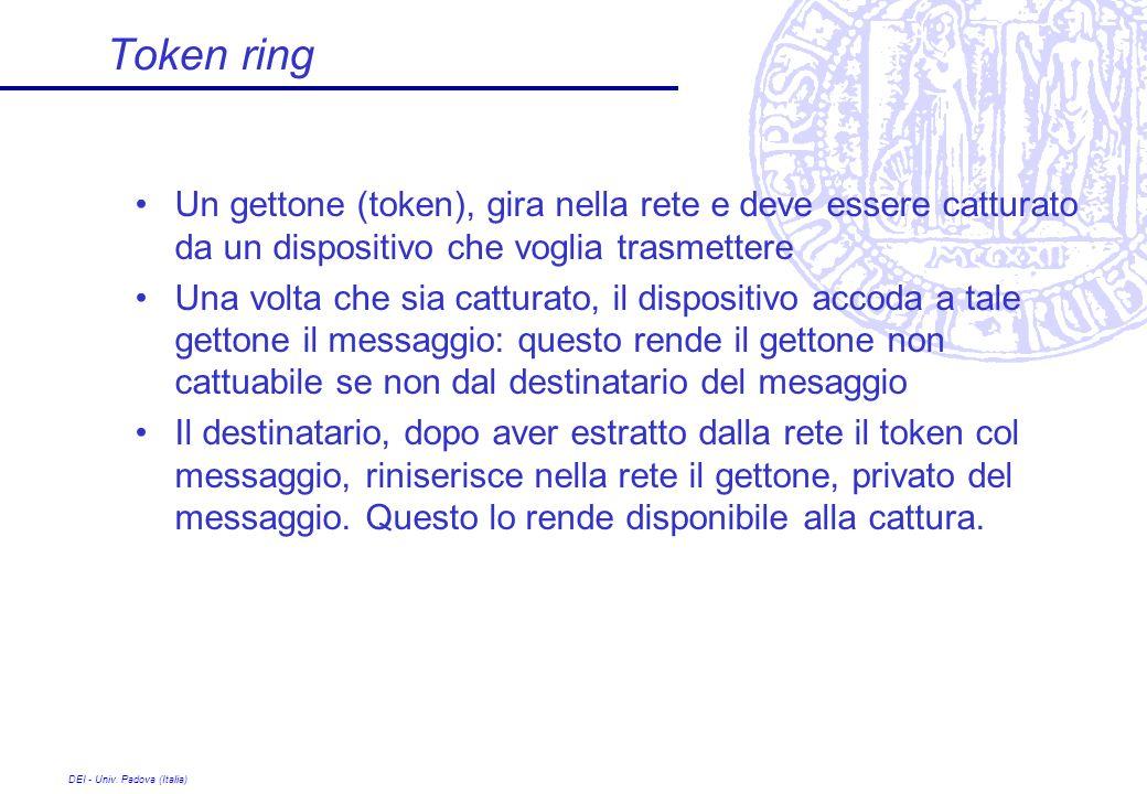 DEI - Univ. Padova (Italia) Token ring Un gettone (token), gira nella rete e deve essere catturato da un dispositivo che voglia trasmettere Una volta
