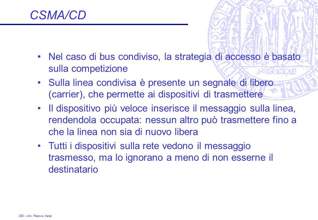 DEI - Univ. Padova (Italia) CSMA/CD Nel caso di bus condiviso, la strategia di accesso è basato sulla competizione Sulla linea condivisa è presente un