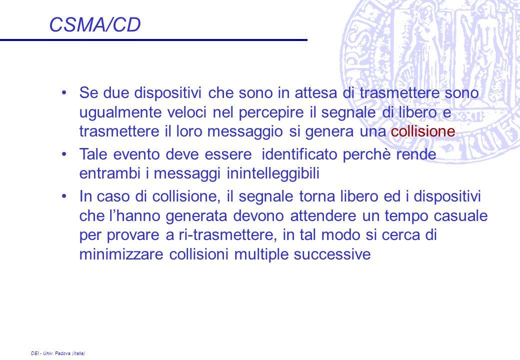 DEI - Univ. Padova (Italia) CSMA/CD Se due dispositivi che sono in attesa di trasmettere sono ugualmente veloci nel percepire il segnale di libero e t