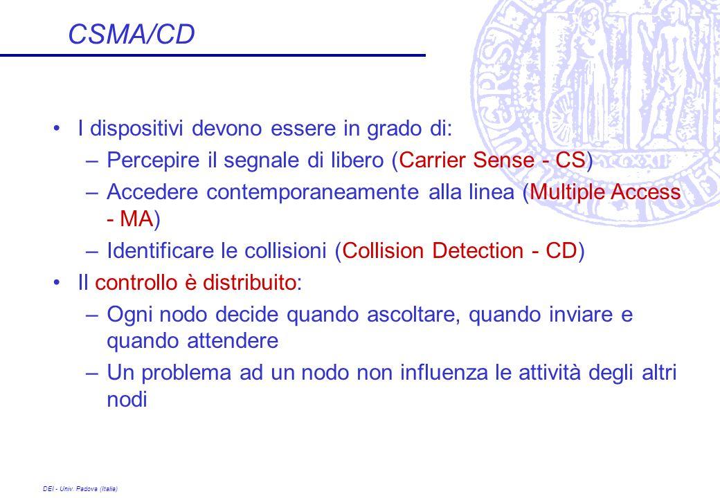 DEI - Univ. Padova (Italia) CSMA/CD I dispositivi devono essere in grado di: –Percepire il segnale di libero (Carrier Sense - CS) –Accedere contempora