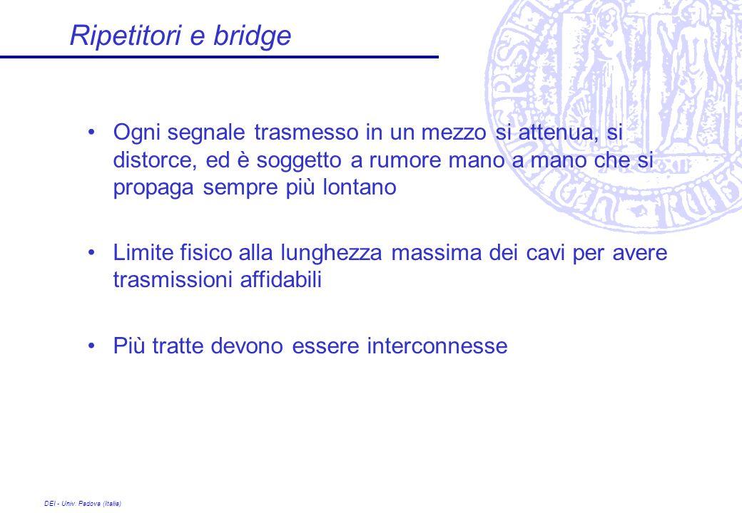 DEI - Univ. Padova (Italia) Ripetitori e bridge Ogni segnale trasmesso in un mezzo si attenua, si distorce, ed è soggetto a rumore mano a mano che si