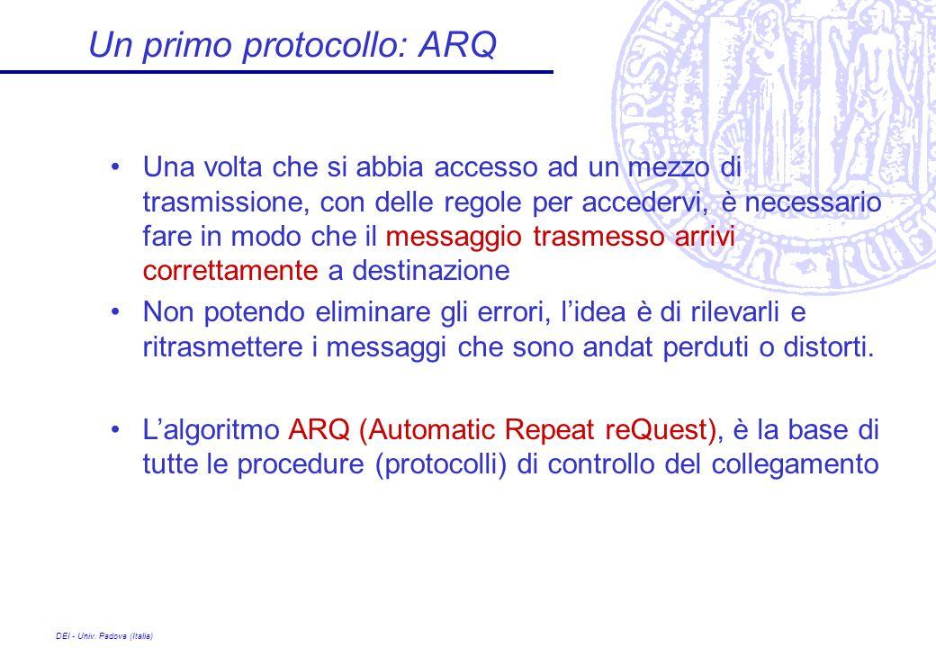 DEI - Univ. Padova (Italia) Un primo protocollo: ARQ Una volta che si abbia accesso ad un mezzo di trasmissione, con delle regole per accedervi, è nec