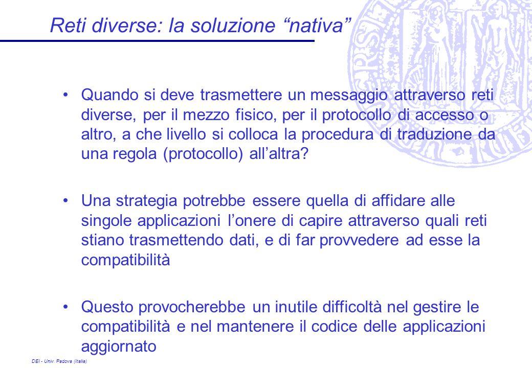 DEI - Univ. Padova (Italia) Reti diverse: la soluzione nativa Quando si deve trasmettere un messaggio attraverso reti diverse, per il mezzo fisico, pe