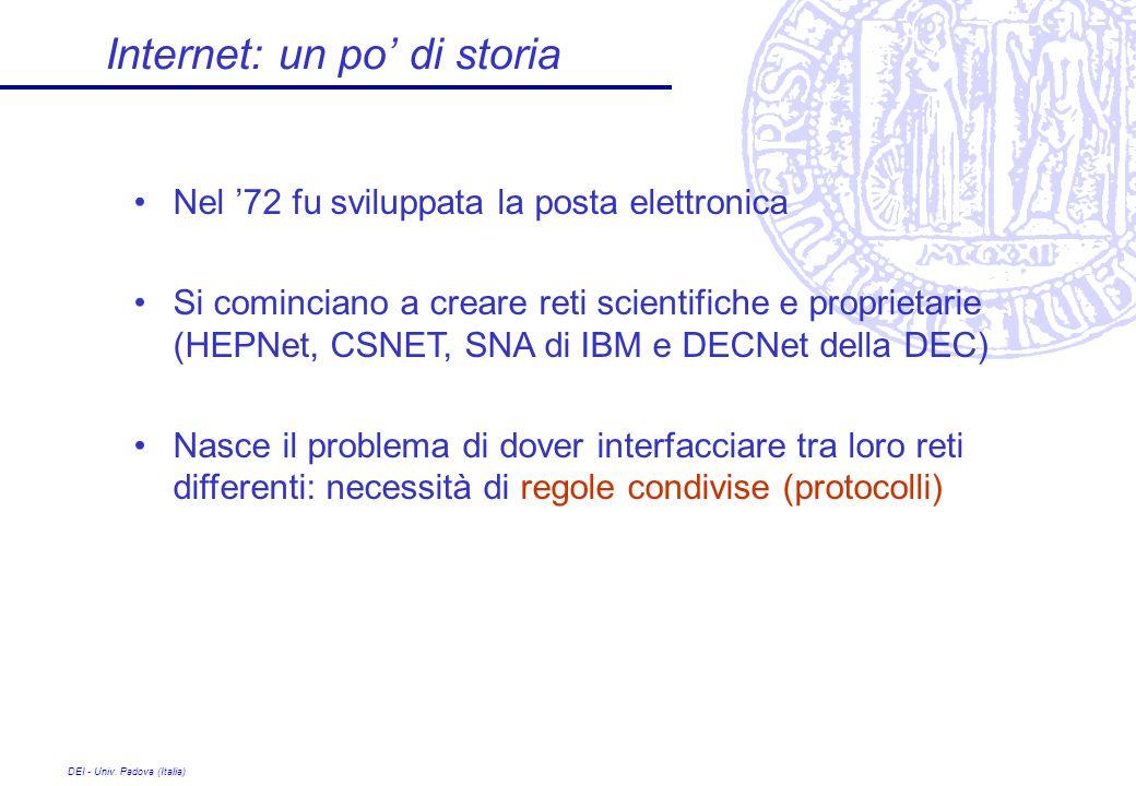 DEI - Univ. Padova (Italia) Internet: un po di storia Nel 72 fu sviluppata la posta elettronica Si cominciano a creare reti scientifiche e proprietari