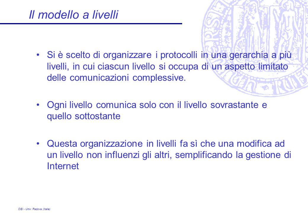 DEI - Univ. Padova (Italia) Il modello a livelli Si è scelto di organizzare i protocolli in una gerarchia a più livelli, in cui ciascun livello si occ