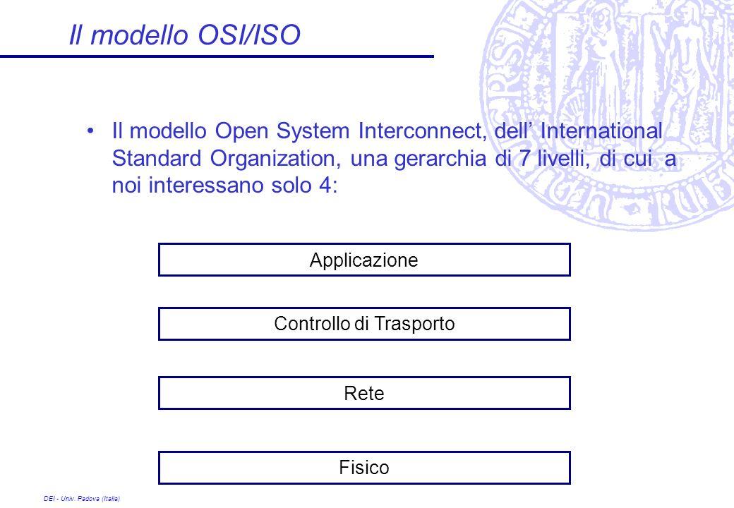 DEI - Univ. Padova (Italia) Il modello OSI/ISO Il modello Open System Interconnect, dell International Standard Organization, una gerarchia di 7 livel